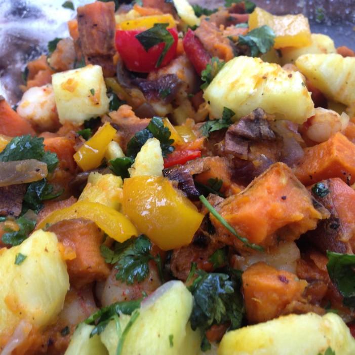 Shrimp, Pineapple, and Sweet Potato Hash